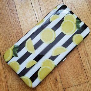 Handbags - Hard case lemons black & white stripes